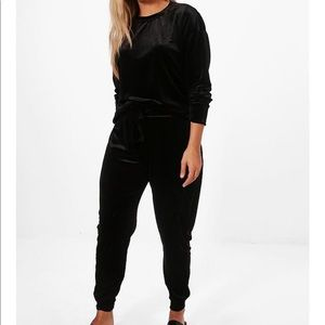 Boohoo Plus Size Velvet Top and Pant Set